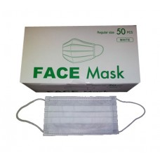 Non-woven Face Mask with Earloop-3 Ply White (50pcs per box)