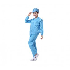 Anti-Static Stripe Line Stand-up Collar Jacket with Pants - Light Blue