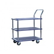 MS115 Tripple Deck Single Handle Metal Platform Trolley Load Capacity 150kg